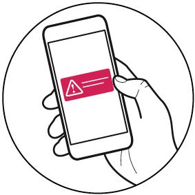 Ilustração de mão segurando um smartphone com um símbolo de alerta