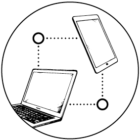 Ilustración de una computadora portátil y una tableta