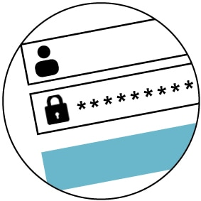 Illustration of person, lock and password symbols