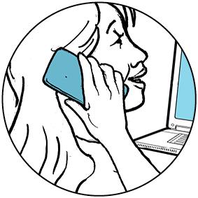 Ilustración de una mujer usando un teléfono inteligente