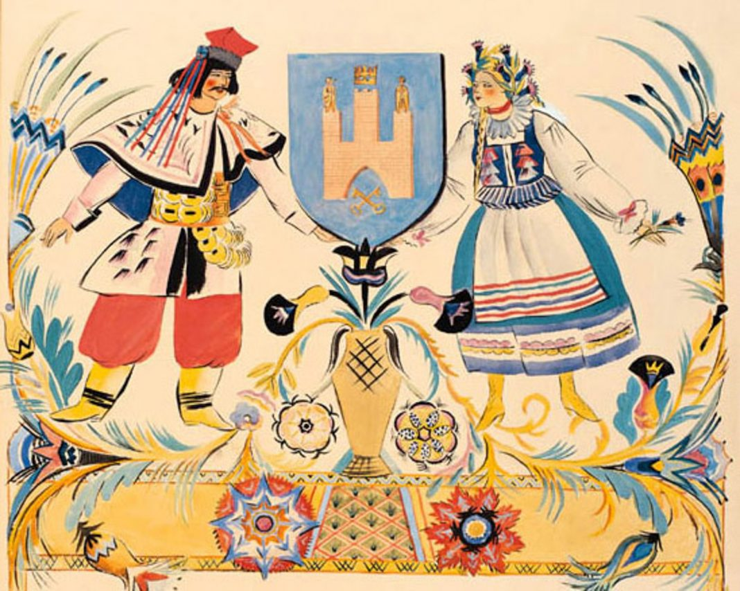 Folk art showing man and woman (Library of Congress)