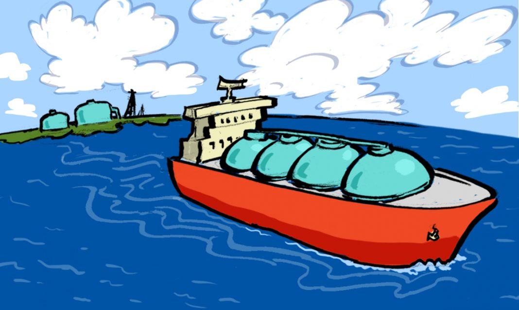 Ilustración de un barco tanquero aproximándose a la costa (Depto. de Estado/D. Thompson)