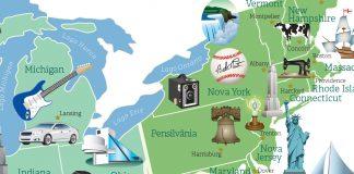 Mapa colorido com ícones mostrando locais de interesse (Depto. de Estado/Diane Woolverton)