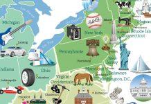 Carte en couleur, avec des symboles indiquant des sites importants (Département d'État/Diane Woolverton)