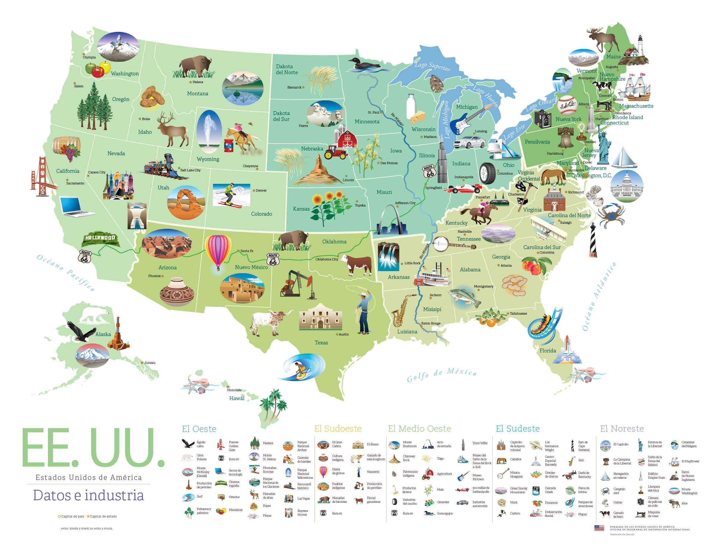 Descarga Este Cartel Gratuito De Lugares Famosos De Estados Unidos - Mapa de usa