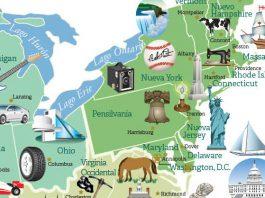 Mapa coloreado muestra iconos y lugares destacados (Depto. de Estado/Diane Woolverton)