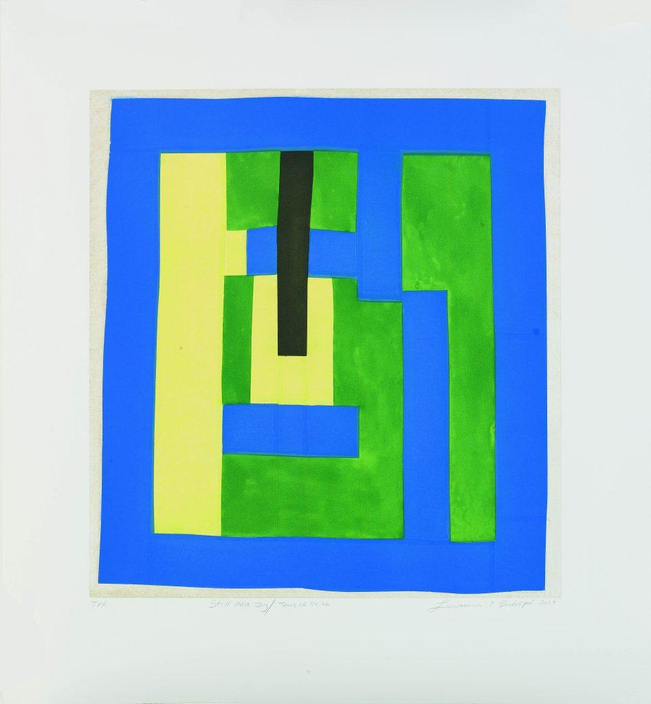 Dessin abstrait sur tissu, en bleu, vert, jaune et noir (Avec l'aimable autorisation de FAPE)