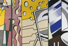 Multicolored abstract mural (© Estate of Roy Lichtenstein, photo courtesy of Gagosian Gallery)