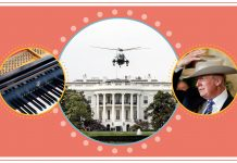 Composite image with photos of piano, helicopter and man wearing hat (State Dept./S. Gemeny Wilkinson)