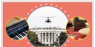 Citra komposit dengan foto piano, helicopter dan pria memakai topi (State Dept./S. Gemeny Wilkinson)
