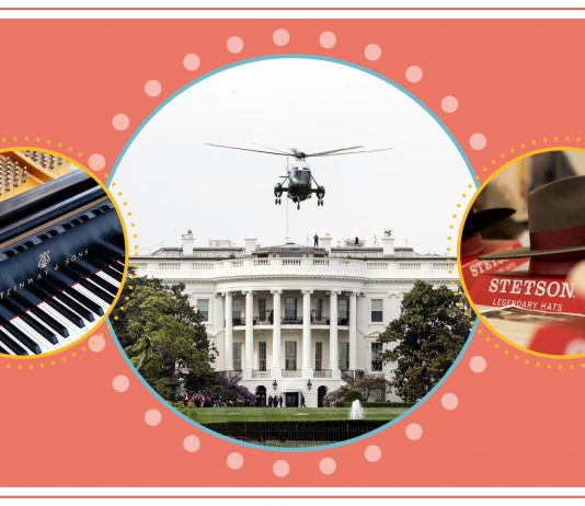 Gambar gabungan berisi foto piano, helikopter dan pria memakai topi (State Dept./S. Gemeny Wilkinson)