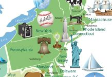 Colored map with icons showing landmarks (State Dept./Diane Woolverton)