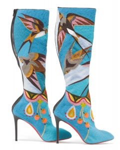 Tall blue boots with elaborate beaded design depicting birds (© Walter Silver/Peabody Essex Museum)