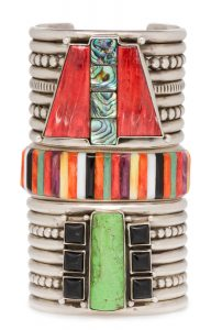 Stack of bracelets of silver and colored stones (© Walter Silver/Peabody Essex Museum)