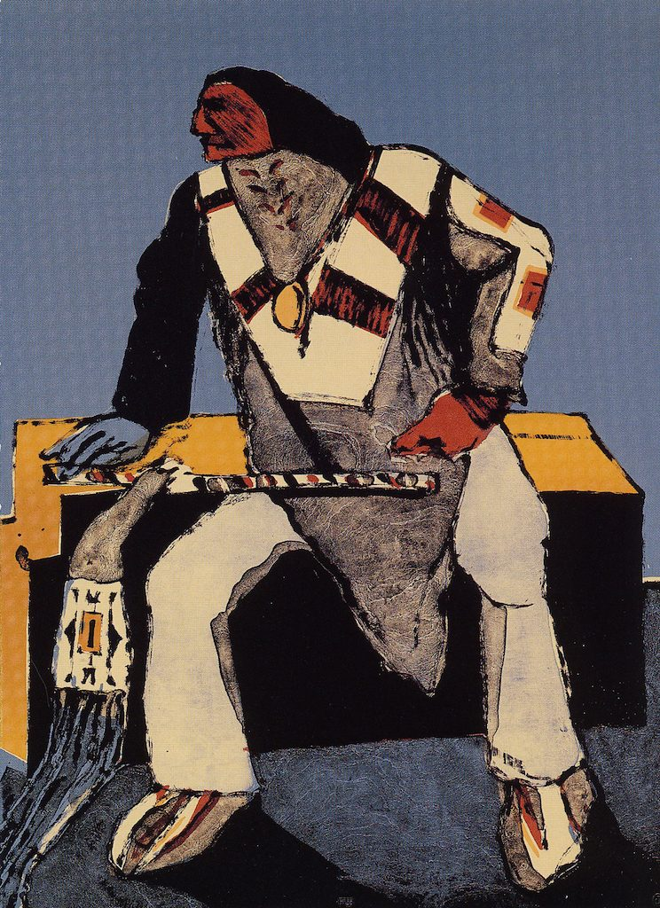 Painting depicting a Native American man sitting (Courtesy of FAPE)
