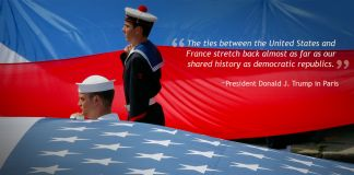 American and French sailors standing with large American and French flags (© AP Images)