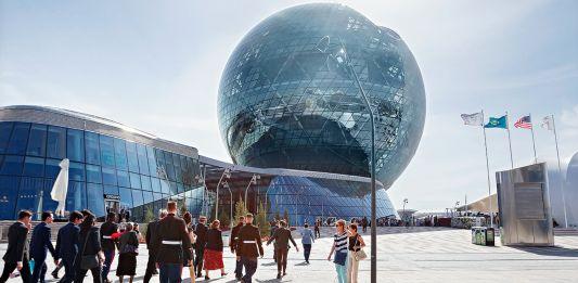 People walking towards dome (U.S. Embassy Astana)