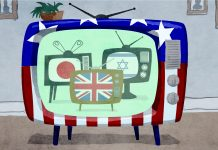 Illustration of an American television set displaying television sets from other countries (State Dept./Doug Thompson)