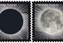 Two versions of solar eclipse stamp (USPS)