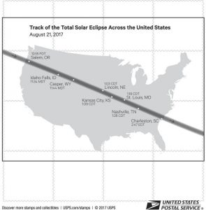 Map of U.S. showing path of solar eclipse (USPS)
