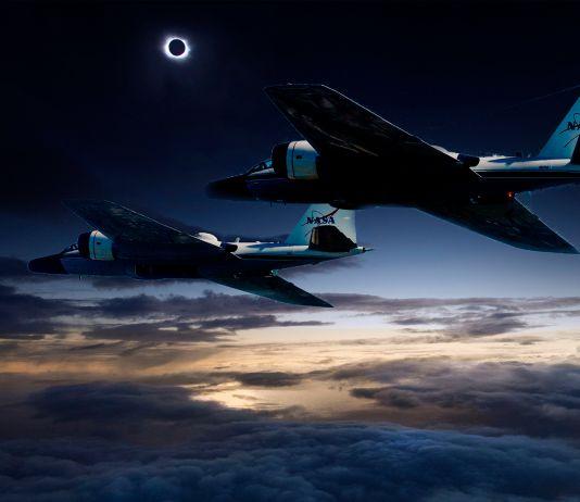 Two jets flying in a dark sky (NASA)