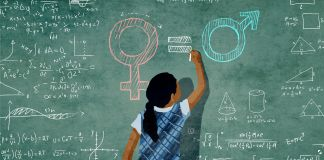 Illustration of a girl writing math equations on a blackboard (State Dept./Doug Thompson)