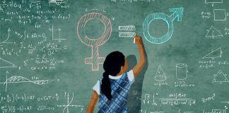 Ilustración de una niña escribiendo ecuaciones matemáticas en una pizarra (Depto. de Estado/Doug Thompson)