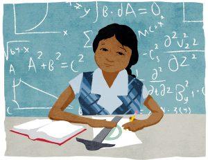 Une fille à son bureau, un té à dessin posé sur une feuille, et un tableau couvert d'équations derrière elle (Département d'État/Doug Thompson)