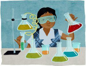 Dessin d'une fille manipulant des tubes à essai (Département d'État/Doug Thompson)