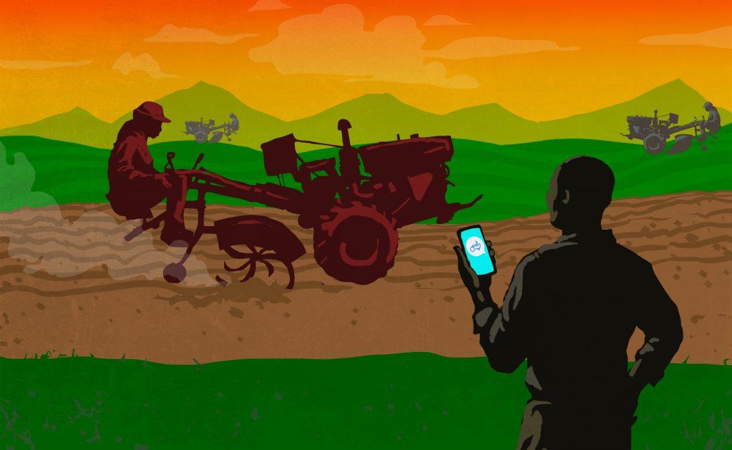 Ilustração de homem no primeiro plano segurando um telefone celular, e três operadores de trator ao fundo (Depto. de Estado/Doug Thompson)