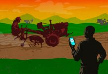 Illustration of man in foreground holding mobile phone, and three tractor operators in background (State Dept./Doug Thompson)