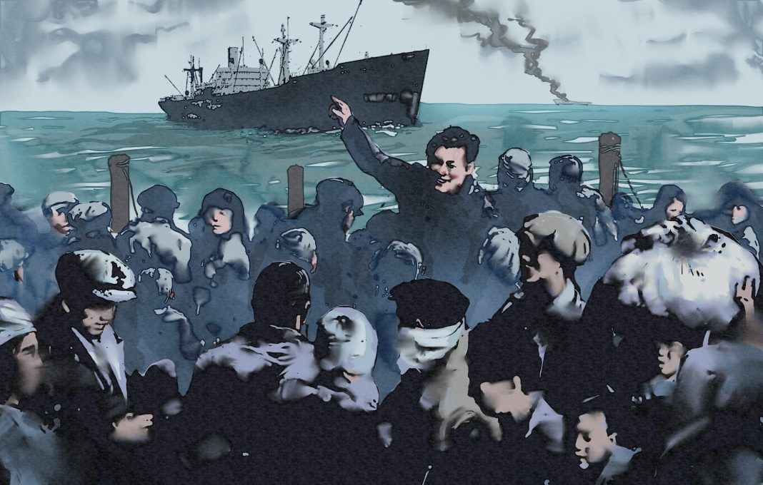 Illustration of crowd and ship (State Dept./Doug Thompson)