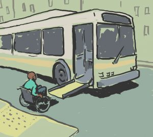 Illustration of a man in wheelchair boarding a bus (State Dept./Doug Thompson)