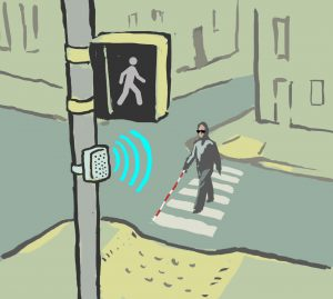 Illustration of a blind man crossing an intersection (State Dept./Doug Thompson)