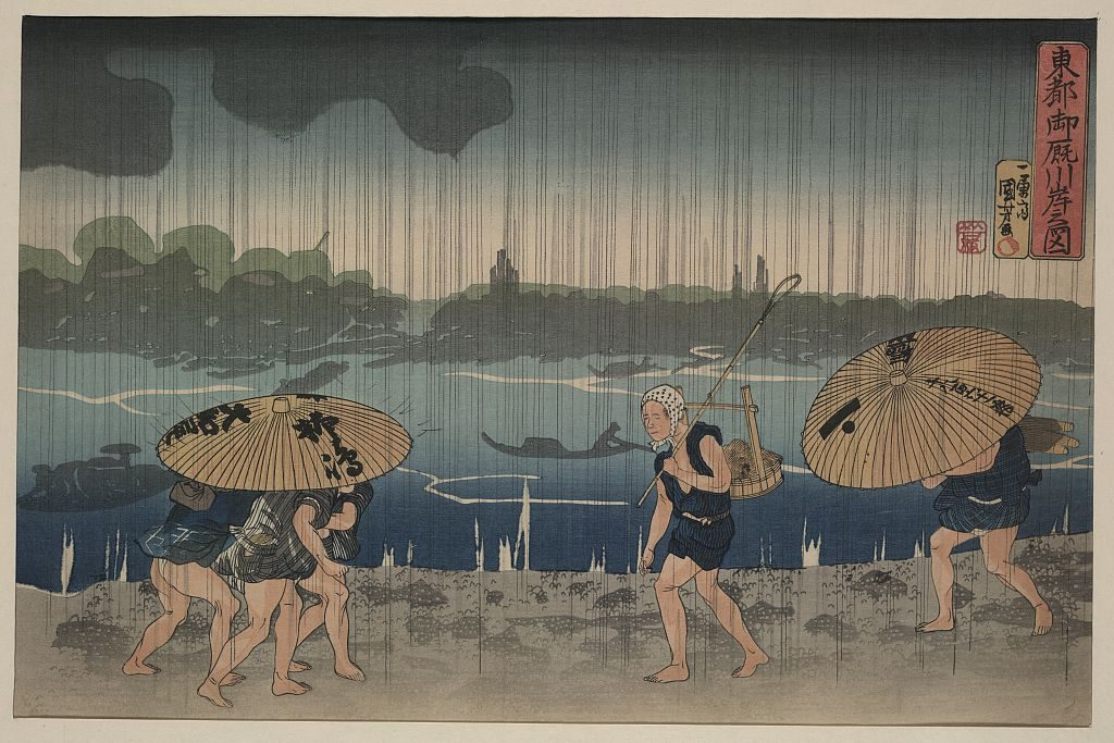 Drawing of five people walking in rain (Library of Congress, https://lccn.loc.gov/2008661141)
