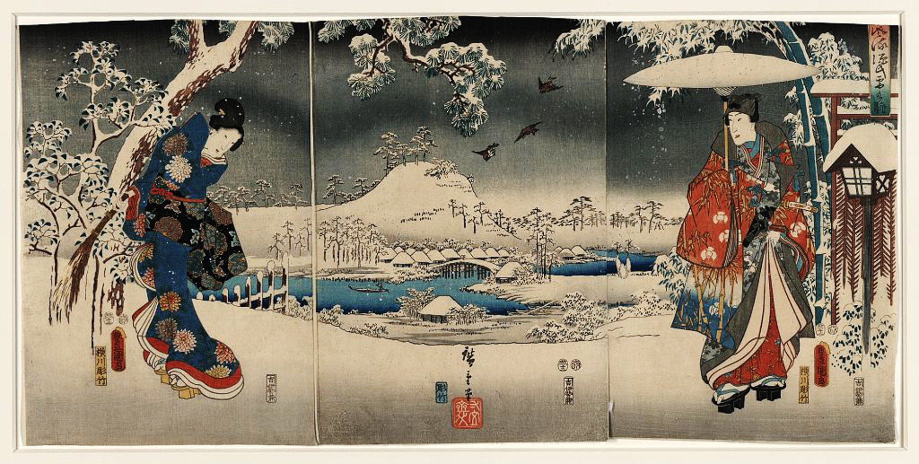 Drawing of two Japanese people in winter scene (Library of Congress, https://www.loc.gov/item/2002700023)