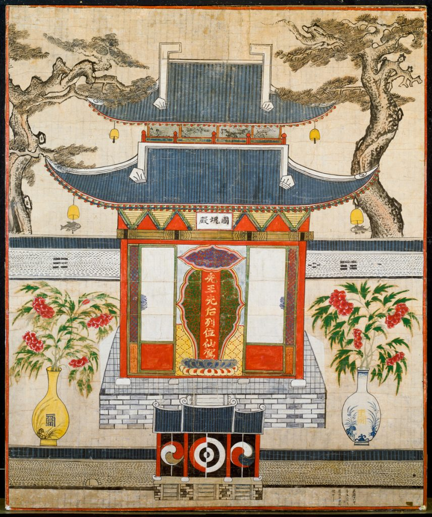 Illustration of shrine flanked by flower vases (© Brooklyn Museum)
