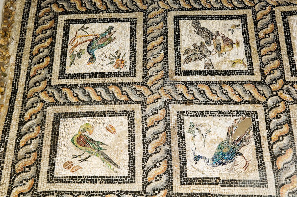 Floor mosaic tile showing figures of birds (© Ariadne Van Zandbergen/Alamy)