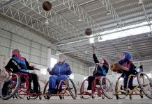 Women in wheelchairs throwing basketballs (© AP Images)