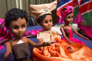 Three dolls dressed in African fashion (State Dept./D.A. Peterson)