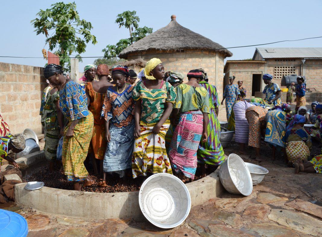 Mulheres africanas em pé esmagando nozes de manteiga de karité (Alaffia)