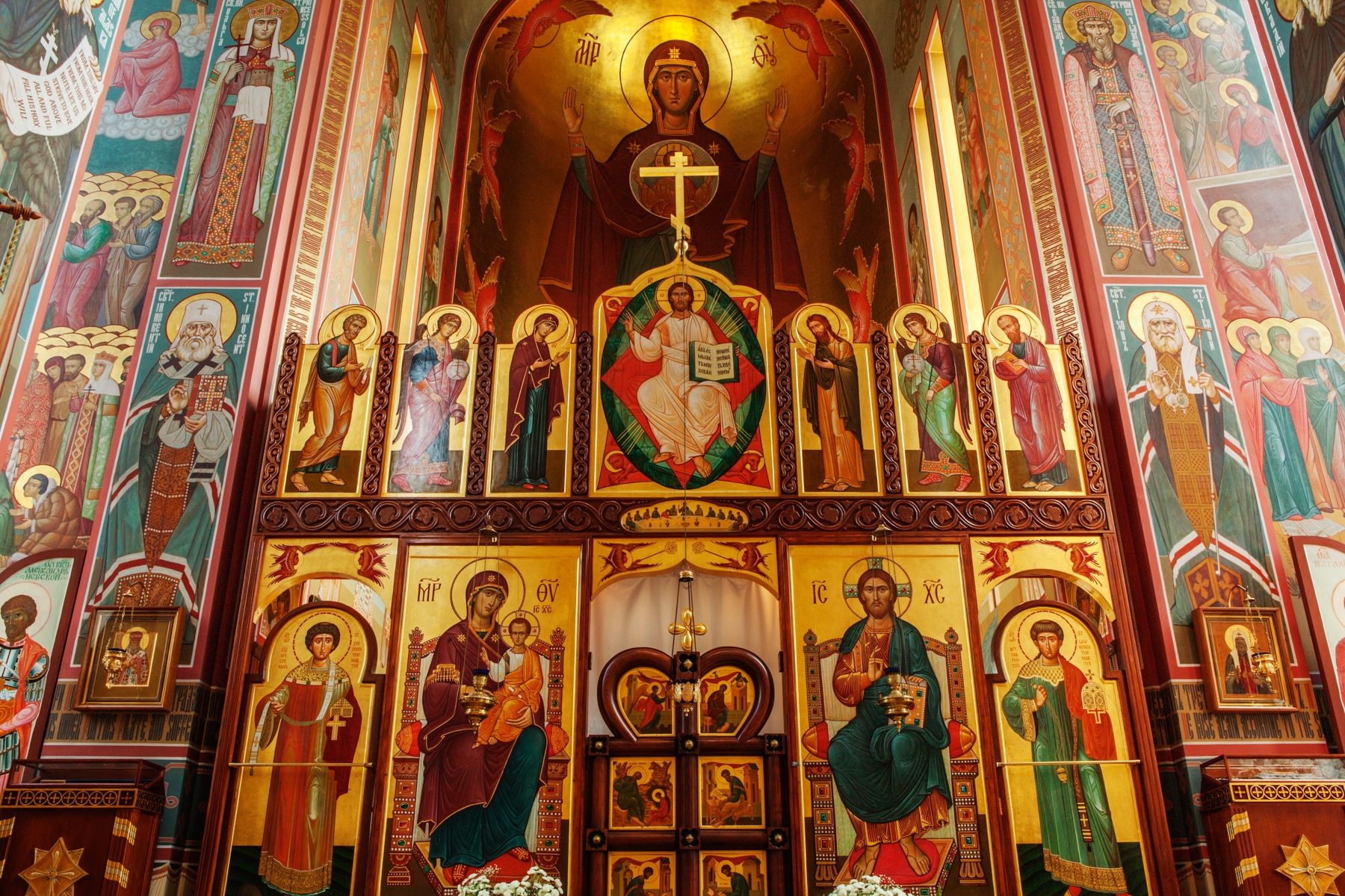Religious display with many paintings of saints (Irakli Chikhladze)