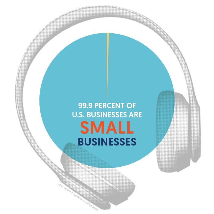 Pie chart showing percentage of small businesses in U.S., inside headphones (State Dept./Julia Maruszewski)
