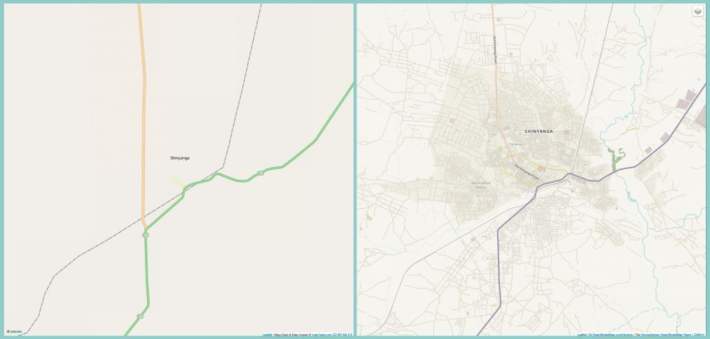 Two maps, one with additional streets, buildings and other structures marked (© OpenStreetMap)