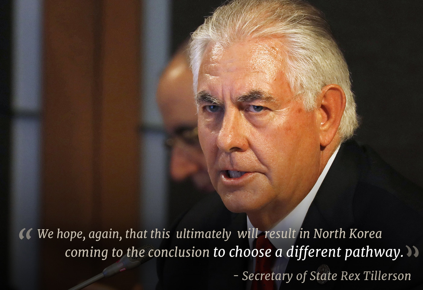 Closeup of Secretary of State Rex Tillerson with quote (© AP Images)