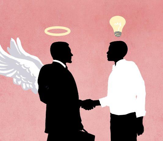 طرحی از یک سرمایه گذار در حال دست دادن با یک مبتکر (عکس از وزارت امور خارجه/داگ تامپسون/شاتراستاک)