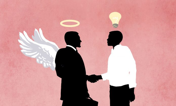 Illustration of investor with angel wings shaking hands with innovator (State Dept./Doug Thomspon/Shutterstock)