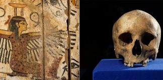 Ancient painting and skull (© AP Images)