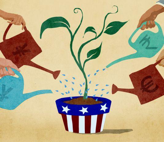 Illustration of several international investors watering plant in American flower pot (State Dept./Doug Thompson)