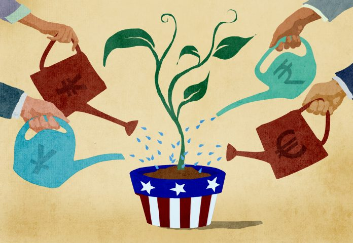 Illustration of several international investors watering plant in American flower pot (State Dept./Doug Thompson)